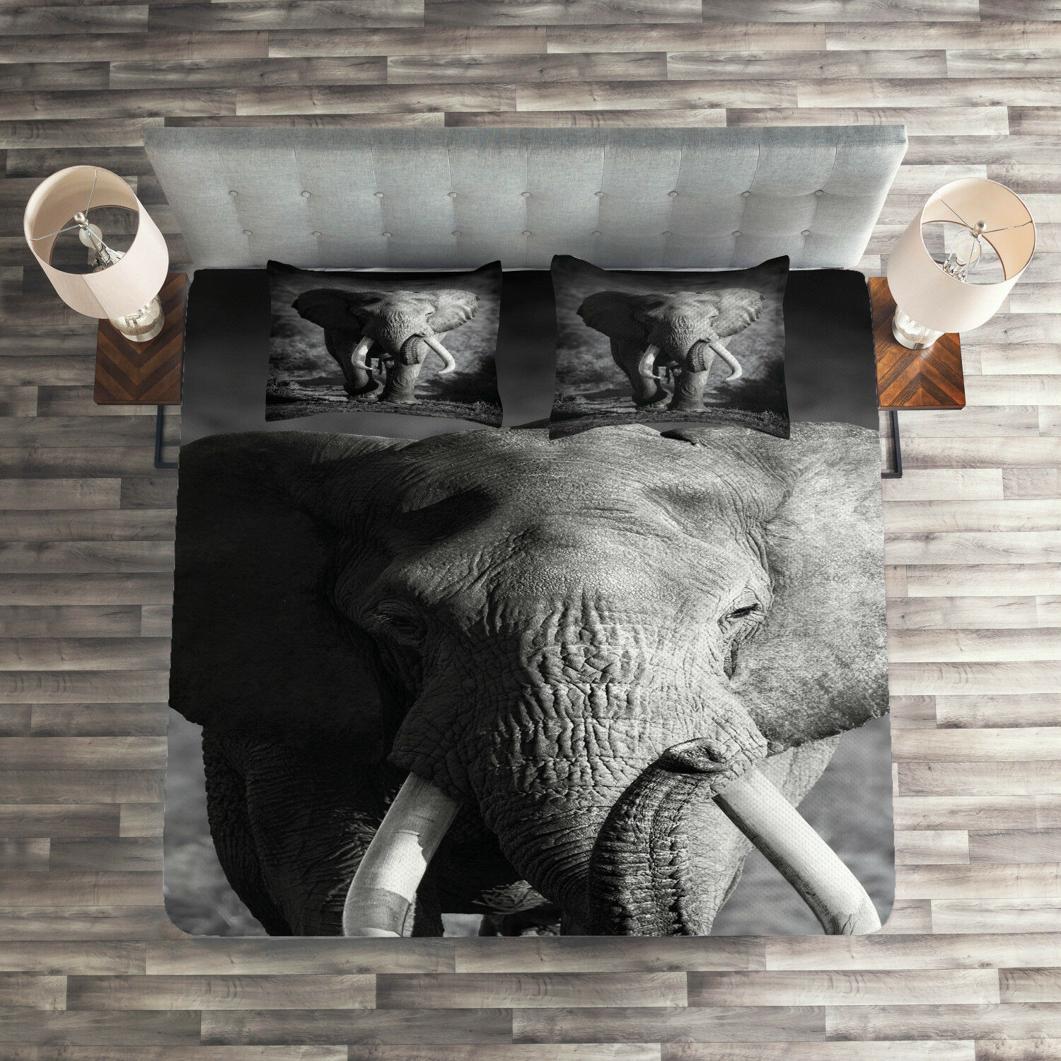 grigio Quilted Coverlet & Pillow Shams Set, Exotic Wildlife Elephant Print