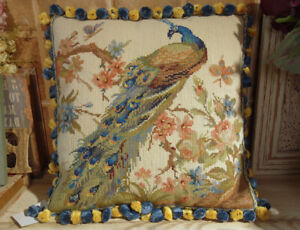 16-034-Hand-Crafted-Peacock-Facing-Right-Floral-Tree-Needlepoint-Throw-Pillow