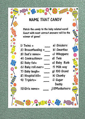 Girl,Boy FIRST CLASS POST Unique on Baby Shower Game//Gift NAME THAT CANDY!