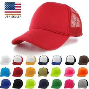Trucker-Foam-Cap-Hat-Mesh-Snapback-Baseball-New-Plain-Visor-Adjustable-Two-Tone