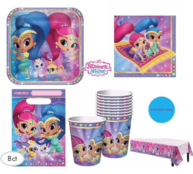Shimmer And Shine Party Supplies PARTY PACK For 8 Guest Plates Napkins Cups Bags