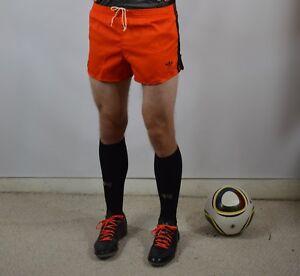 anni Trefoil vintage Large arancio calcio '80 Orange anni Vintage cotone in nero Cotton grandi Black Trefoil da '80 Pantaloncini Shorts Soccer w0zqII