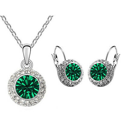 Emerald Crystal Green Jewellery Set Circle Earrings & Necklace with Pendant S754