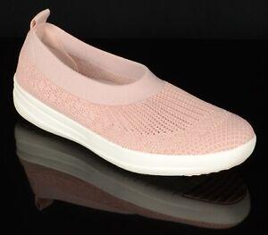 Fitflop-Womens-Ballerina-Uberknit-Ballet-Flats-Size-9M-Neon-Blush-White-Slip-Ons