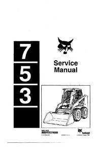 Bobcat 753 service manuel ** gratuit uk post **-afficher le titre d`origine