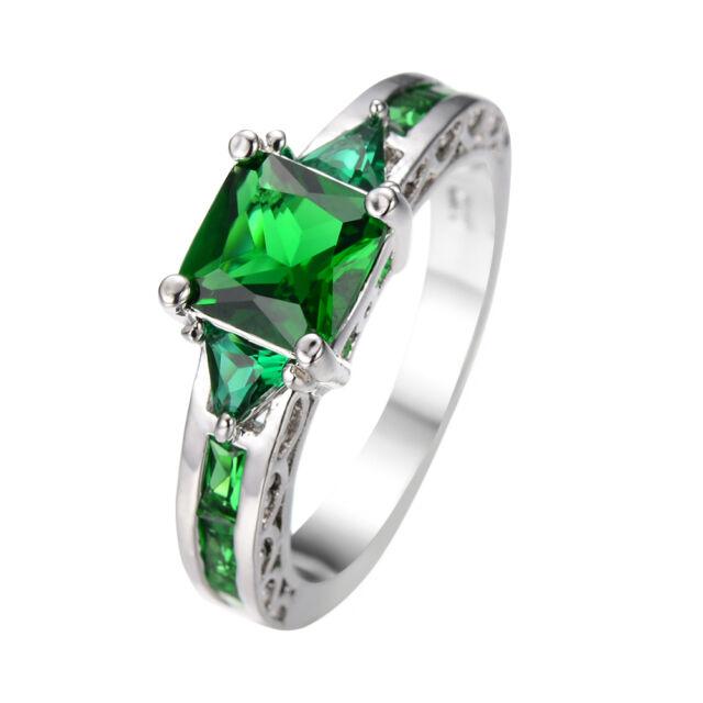 Junxin Princess Cut Green Emerald Wedding Ring White Gold For Women Size 6-10