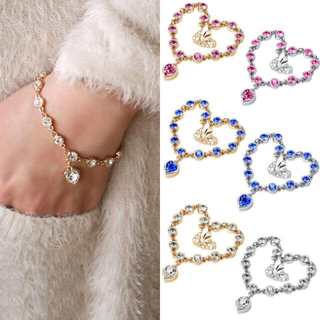 Women Infinity Charm Crystal Rhinestone Heart Gold Silver Chain Bracelet Jewelry