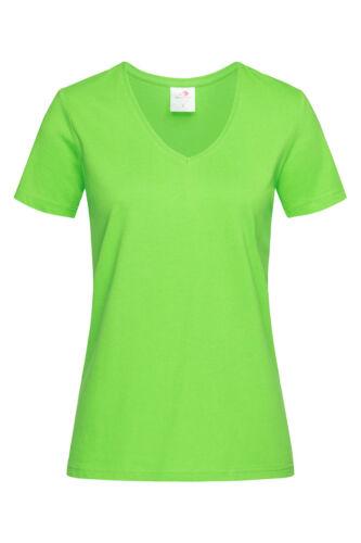 Damen Passform Einfache Baumwolle Kurzärmlig Vee V-Ausschnitt T-Shirt