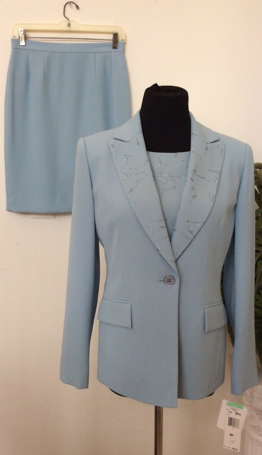NWT Jones New York bluee 100% 100% 100% Polyester Lacy 3 Piece Skirt Suit Size 8P Ret. 280 99ff9a