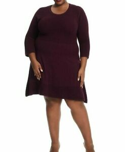 Jessica-Howard-Textured-Fit-And-Flare-Sweater-Dress-In-Wine-Size-1X