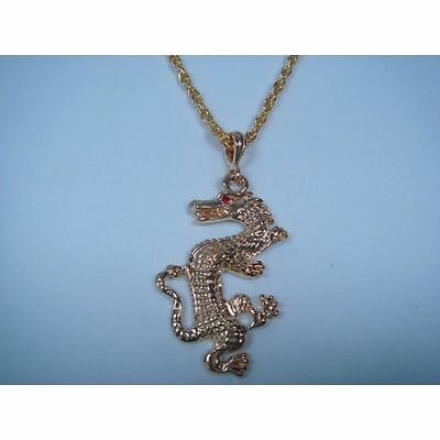 LARGE SILVER OR GOLD DRAGON CHINESE ZODIAC PENDANT MEDALLION & 21 INCH NECKLACE