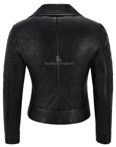 Style Motorcycle Leather Soft Black Quilted Lambskin Biker Jacket 1075 Ladies qXF6aRw7T