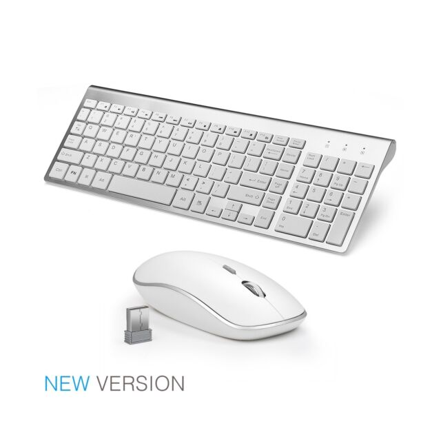 Wireless Keyboard and Mouse Combo Full-size, Whisper-quiet - silver