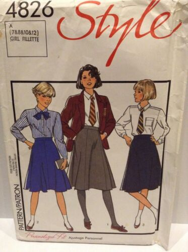 Sewing pattern style filles 4826 A-ligne école jupe X3 variations 7 8 10 12YRS