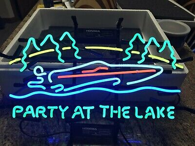 """New Lake Party Beer Bar Neon Light Sign 24/""""x20/"""""""