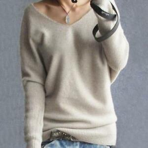 New-Women-Long-Batwing-Leisure-Knitted-Sleeve-V-Neck-Cashmere-Baggy-Sweater