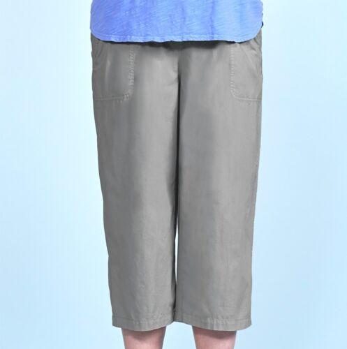 FRESH PRODUCE 1X Slate GRAY $69 Beachcomber Cotton Elastic Waist Capris NWT New