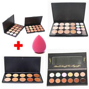 Hot 10/12/15/20 Colors Contour Face Cream Makeup Concealer Palette+Sponge Puff
