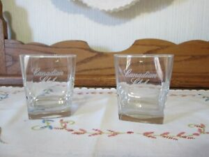 Set of 2 Vintage Canadian Club Whiskey Square Low Ball Rocks Cocktail Glasses
