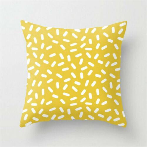 Yellow Cotton Linen Pillow Case Sofa Waist Throw Cushion Cover Home Decor 18/'/'