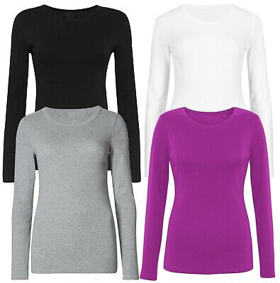 Marks /& Spencer Womens Pure Cotton Long Sleeve Crew Neck New M/&S T Shirt Top Tee