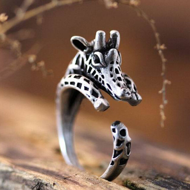 Vintage Jewelry Adjustable Antique Sliver Planted Giraffe Ring Animal Rings Sale