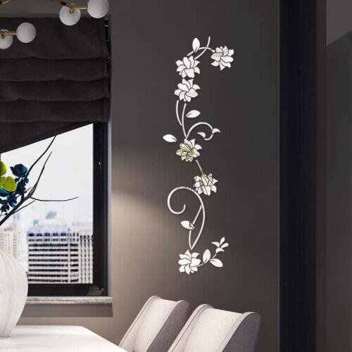 3D Spiegel Blume Wandaufkleber Wandtattoo Wandsticker Zimmer Dekoration Zubehör