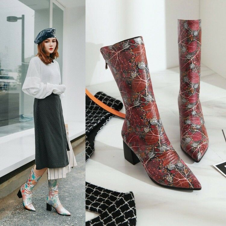 2018 Autumn Winter New Mid-Calf Boots Women's Sexy Pointed Block Heels Plus size