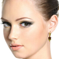Genuine Garnet, Citrine & Peridot Gems Flower Leverback Earrings 14K. Solid Gold