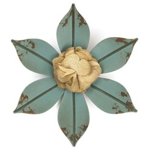 Blue Metal Flower with Burlap Center.Turn your home or office into a garden.