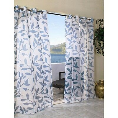 Outdoor Decor Escape Leaf Indoor/Outdoor Grommet Top Sheer Curtain Panel
