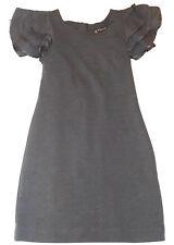LADIES TSEGA S/ M  GREY JERSEY BODYCON RUFFLE SHORT SLEEVES TUNIC DRESS