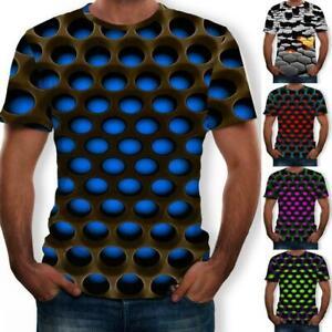 Mens-3D-Geometric-Print-T-Shirt-Casual-Short-Sleeve-Crew-Neck-Casual-Tee-Tops