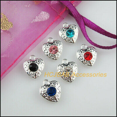 36Pcs Tibetan Silver Mixed Crystal Round Charms Pendants Connectors 11x18mm