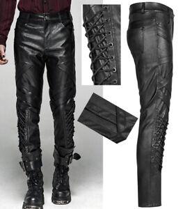 Pantalon cuir gothique punk métal militaire sangle laçage stylé PunkRave Homme
