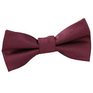 DQT-Tisse-plaine-solide-Carreaux-Bordeaux-Communion-Page-Garcons-Pre-Tied-Bow-Tie