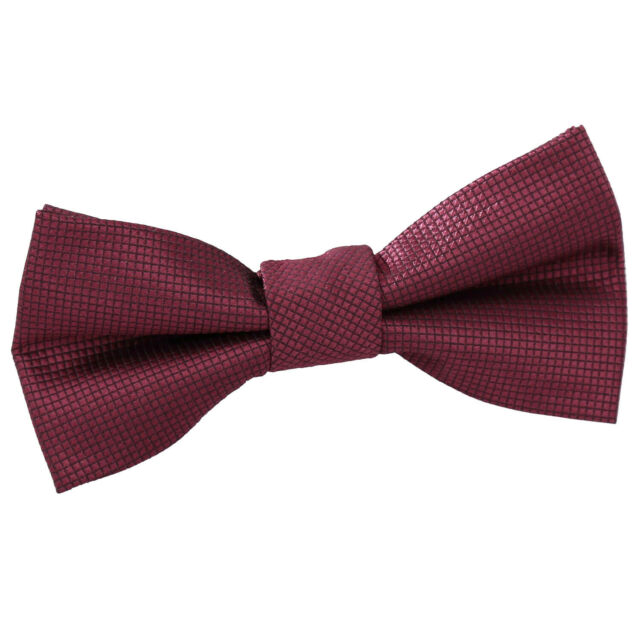 Boys Bow Tie Woven Solid Check Burgundy Wedding Adjustable Pretied by DQT