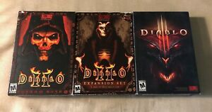 Diablo-II-2-and-III-3-PC-Windows-Mac-CIB-boxed-untested-box-only-for-exp-pak