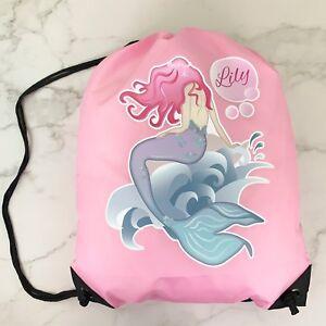 Personalised-Kids-New-Mermaid-Drawstring-Swimming-School-PE-Bag-For-Girls
