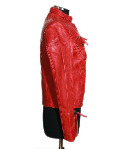 Tina in Red Nuova giacca Ladies Style agnello Biker retrò Fashion morbida pelle vera di XrrwC0dqxc