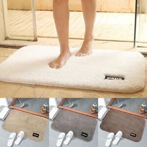 Détails sur Tapis de bain doux antidérapant Piédestal Toilette Tapis Salle  de bain lavable
