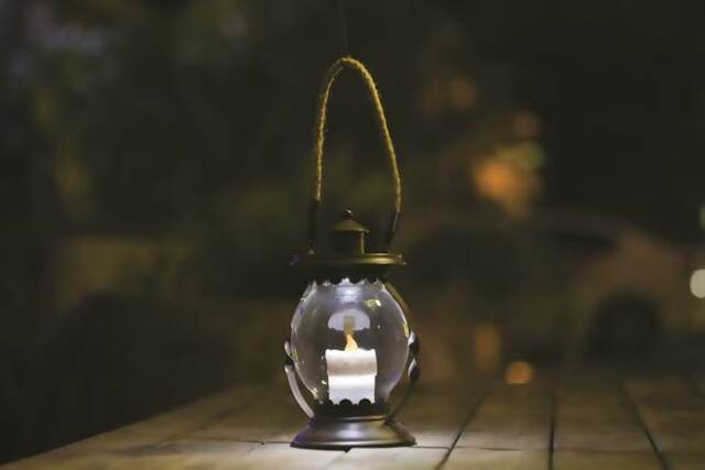 Solar Candle Lantern Garden LED Glass Light Porch Outdoor Decorative Decor Lamp