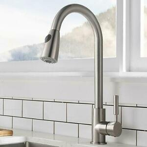 Details about Brushed Nickel Kitchen Sink Faucet With Pull Out Sprayer  Single Handle Mixer Tap