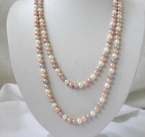 """Long 50/"""" 8 mm Rond Blanc Rose Violet Freshwater Shell Perles Collier PN663"""