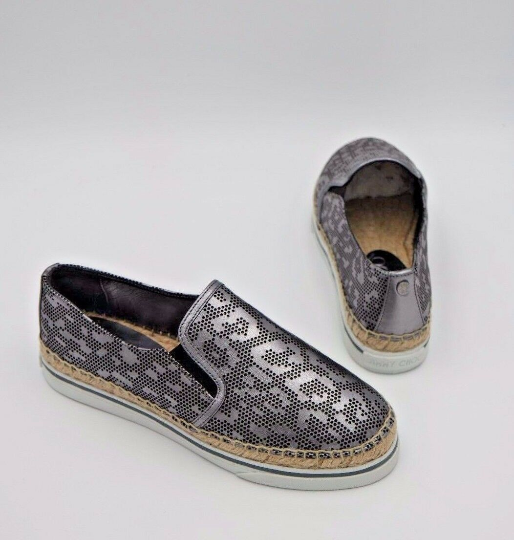 NIB Jimmy Choo Dawn Leopard Sneakers Metallic Print  Leder Espadrille Sneakers Leopard 6 36 $550 090683