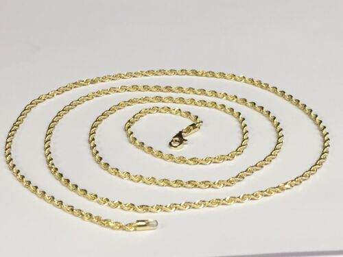 """10kt SOLID Gold Diamond Cut ROPE Pendant Chain//Necklace 16/"""" 2.25mm 4 grams 016R"""