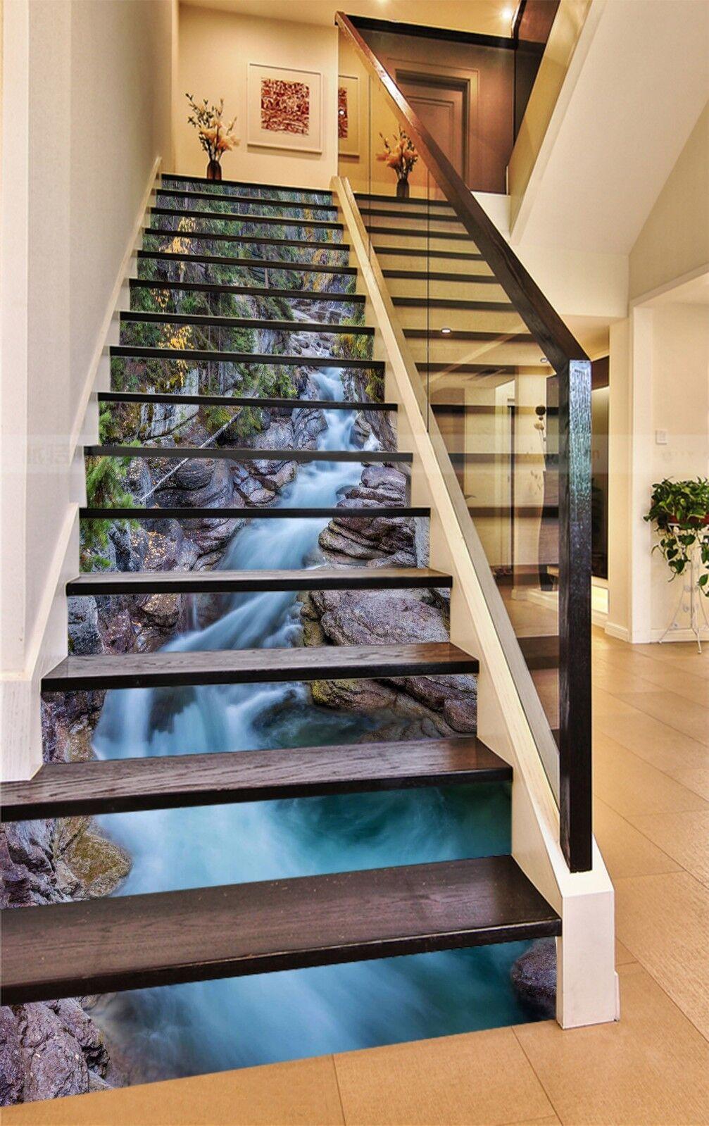 3D Tiefer Fluss 324 Stair Risers Dekoration Fototapete Vinyl Aufkleber Tapete DE