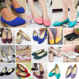 Women-Suede-Leather-Ballet-Flats-Slip-On-Boat-Shoes-Casual-Loafers-Size-3-5-8-5