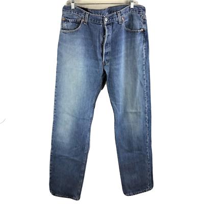 Ordinato Vintage Levis 501 Uomo 36x34 Dritti Jeans Gamba Cotone Sdrucito Fatto In Usa Superficie Lucente