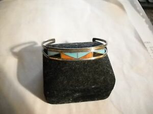 Signed-C-R-Zunie-Sterling-Silver-Inlaid-Turquoise-Coral-Onyx-Cuff-Bracelet